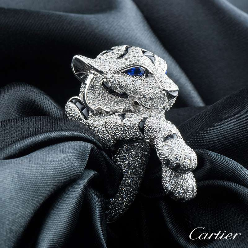 Cartier Platinum Diamond, Sapphire and Onyx Panthere Ring